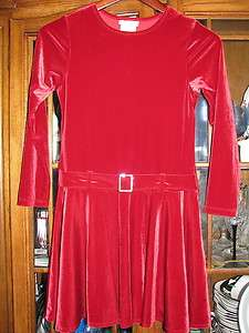 Bonnie Jean girls size 12 Christmas dress Red velour long sleeve