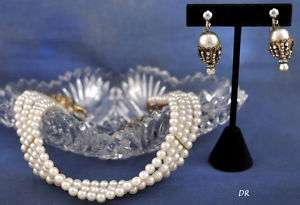 Faux Pearl Multiple Strand Choker Necklace & Earrings