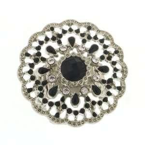 1928 Silver Tone Crystal Jet Enamel Ring Beauty