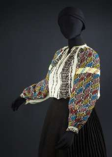 beaded & embroidered peasant blouse ethnic folk costume linen?