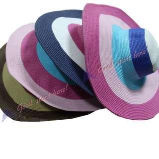 Colorful Striped Hats Cute Girls Lady Summer Beach Wide Brim Straw