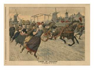 Winter in Holland, Ice Skating on the Canal Giclee Print by French