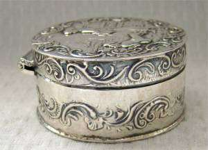 RARE GERMAN ANTIQUE TRINKET/SNUFF/PILL BOX holder~SOLID STERLING