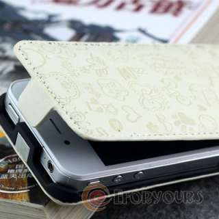 White Cute Leather Pouch Flip Case Cover for Apple iphone 4 S 4S /4G