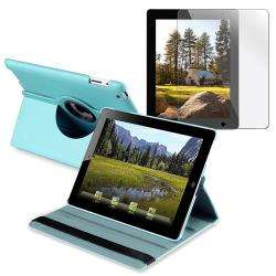 Leather Swivel Case/ Screen Protector for Apple iPad 2