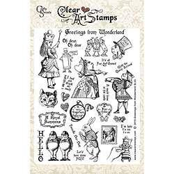 Crafty Secrets Greetings From Wonderland Large Clear Art Stamp Sheet