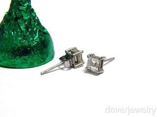 Asscher Cut 0.86ct Diamond Platinum Stud Earrings NR
