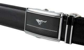 COOL Mens Belt Auto Lock Wolf Totem Genuine Black Leather Super Wide