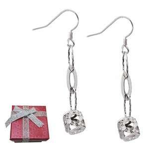 925 Sterling Silver Diamond Cut Ball Dangle Earrings