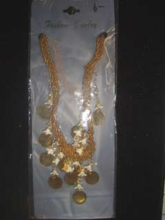 Seed Beaded Sequin Peyete Necklace Earring Set Gold