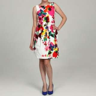 Eliza J Womens Floral Print Belted Dress