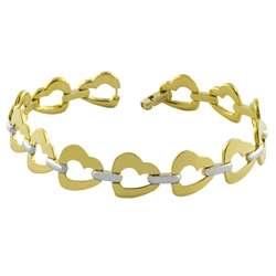 14k Two tone Gold Open Heart Link Bracelet  Overstock