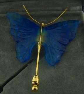 Beautiful Daum Crystal Blue Pate de Verre Butterfly Brooch New in Box