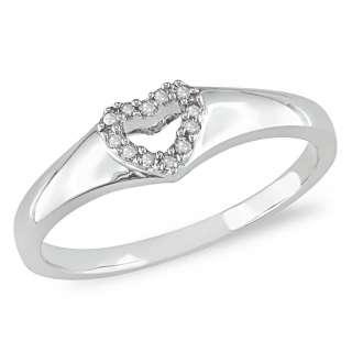 10k White Gold Diamond Open Heart Ring