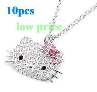 10pcs Hello Kitty Pink Bow Pendant CRYSTAL Chain Necklace wholesale