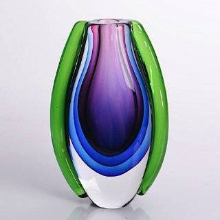 Hand Blown Purple, Blue, & Green Sommerso Teardrop Art Glass Vase with