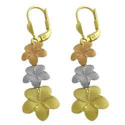 14k Tri color Gold Satin Flower Dangle Earrings