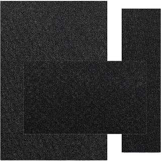 Town Square 3 Piece Rug Set, Black, Polypropylene Rug Set, Berber
