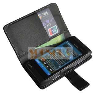 Leather Flip Pouch Case Cover For Nokia N8 Black