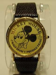 VHTF NIB Vintage DISNEY Mickey Mouse Lorus Quartz Gold Coin Watch
