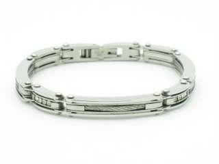PLATINUM STAINLESS STEEL DIAMOND SET CABLE BRACELET NIB