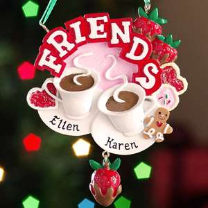 Personalized Friends Coffee Cups Christmas Ornament, Resin Christmas
