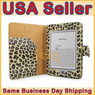 Leopard Leather Pouch Case Cover for  Kindle Touch 6 + Screen