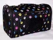 Luggage Style multicolored paw dog cat pet carrier NEW