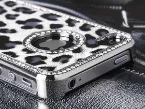Luxury Bling Rhinestone Leopard Hard Case Cover for Apple Verizon