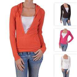 Hailey Jeans Co Juniors Lightweight Waffle Thermal Hoodie Top