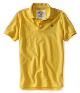 aeropostale mens solid pique polo shirt