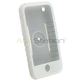 Silicone Rubber Skin Cover Case+LCD Mirror Guard for iPhone 3GS 3G