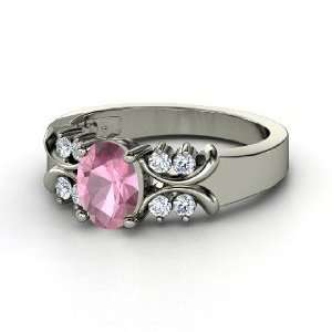 Gabrielle Ring, Oval Pink Tourmaline 14K White Gold Ring