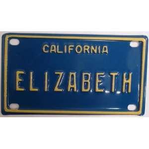 Elizabeth Mini Personalized California License Plate