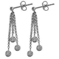 14k White Gold Diamond cut 3 strand Dangle Earrings