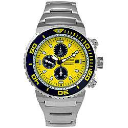 Seiko Mens Dive Chronograph Yellow Dial Steel Watch