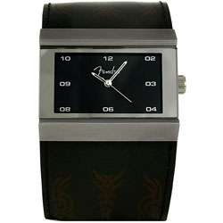 Fender Mens Tattoo Black Leather Strap Watch