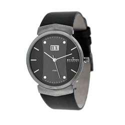 Skagen 697XLMLMB Mens Black Leather Strap Watch