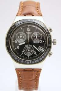 Swatch Men Irony Chrono Dark Phoenix Brown Leather Watch Date 40mm