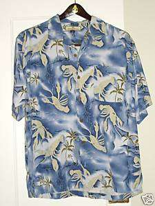 Tommy Bahama Blue Crab Hawaiian Silk Men Shirt Medium M
