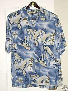 Tommy Bahama Blue Crab Hawaiian Silk Men Shirt Medium M