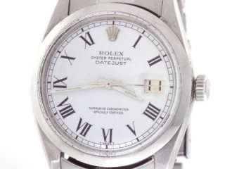 Rolex Oyster Perpetual Date Just 1603 White Roman Dial Stainless Steel