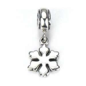 Moress Let It Snow Snowflake European Charm Bracelet Dangle Bead Solid