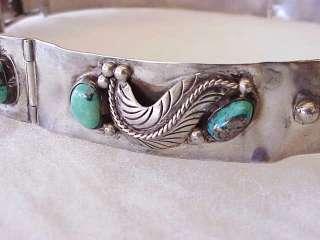 NICE Vintage Navajo Morenci Turquoise Sterling Silver Hat Band Belt