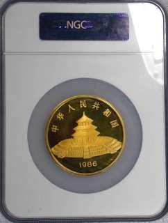 1986 NGC PF66 Ultra Cameo 12 oz .999 Gold China Panda 1000Y