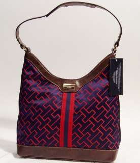 NEW Tommy Hilfiger TH Logo Blue Red Handbag Hobo Tote Bag Purse