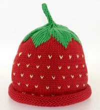 Berries Strawberry HAT Baby Girls Boys red Cotton Hand Knitted