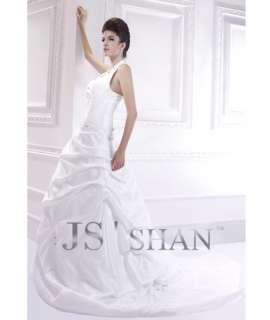SALEJsshan White Taffeta Beading Halter Bridal Gown Wedding Dress,US4