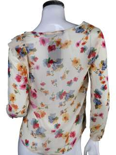 CREW NECK FLORAL PRINT SHIRT WITH SHOULDER FRILL 2273