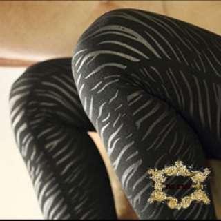 Black Thermal Fleece Footless Tights Leggings w Fashion Prints |